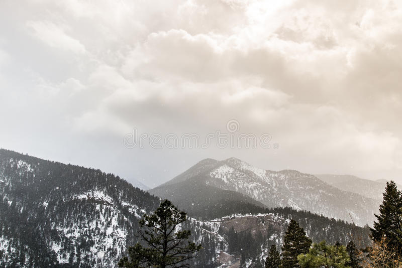 Snow Storm on Cheyenne Mountain Colorado Springs. Rocky mountain landscape taken while hiking through North Cheyenne Canyon in Colorado Springs during a light royalty free stock images