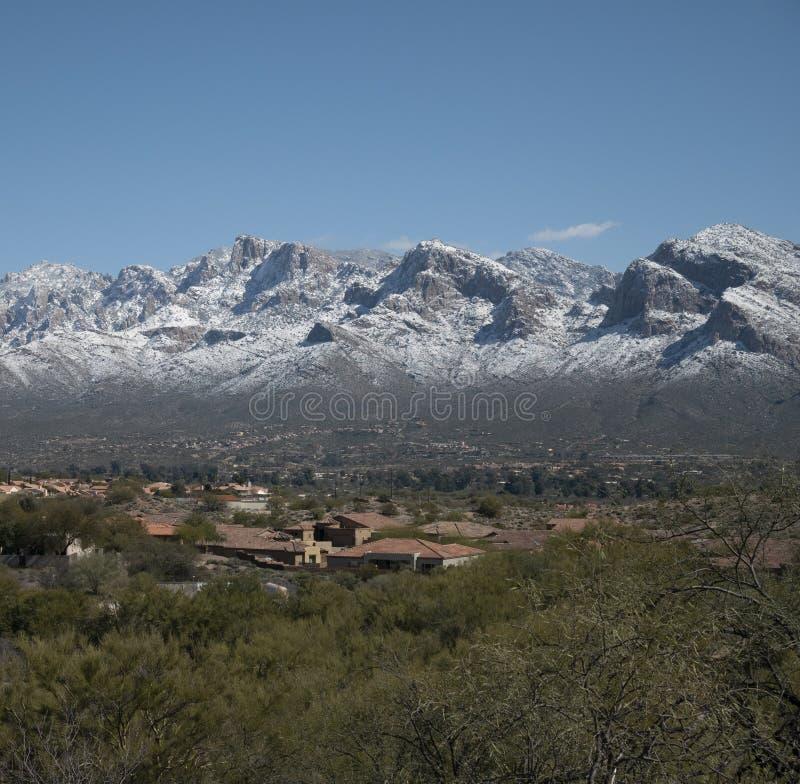 Snow on the Santa Catalina Mountains. A snow storm covered the Santa Catalina mountains outside of Tucson Arizona royalty free stock photo