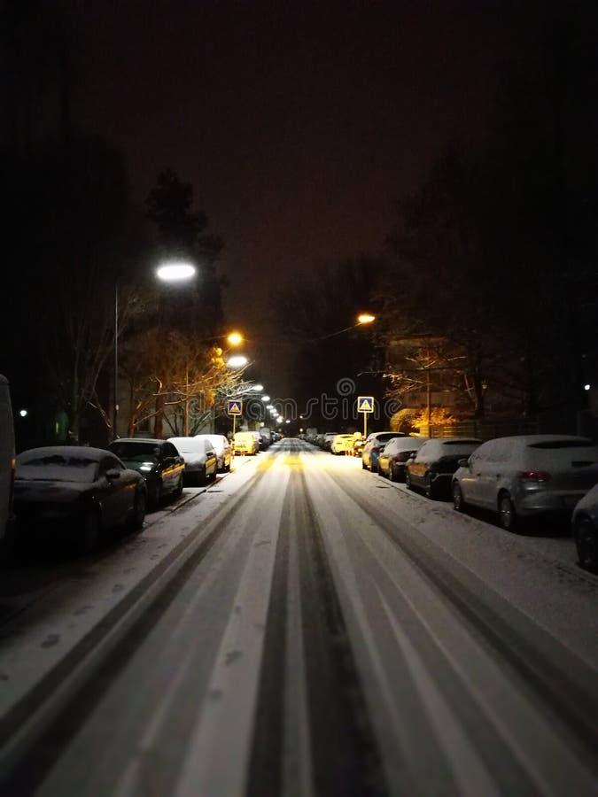 Snow-stripe-street royalty free stock images