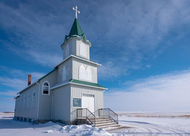 Snow surrounding the historic Peace Lutheran Church. On the prairies in Saskatchewan stock photo