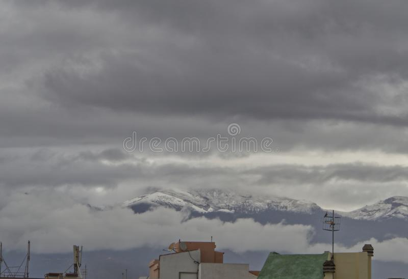 Snow in Tenerife, Canary Islands, Spain stock image
