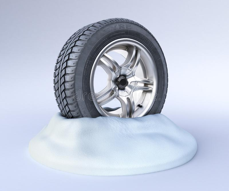 Snow tires on a snow 3d render on white royalty free illustration