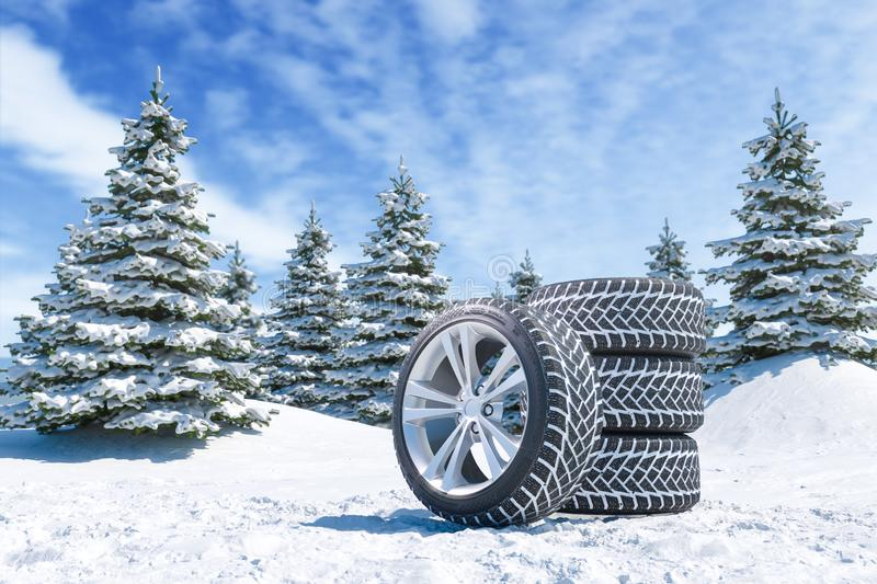Snow tires on winter landscape background stock illustration