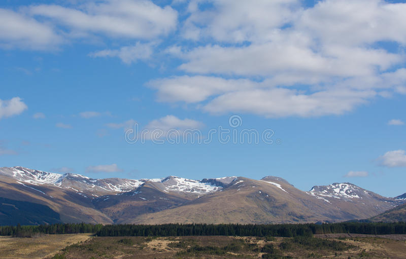 Snow topped mountains Ben Nevis Scotland UK in the Grampians Lochaber Highlands close to the town of Fort William. In summer royalty free stock image