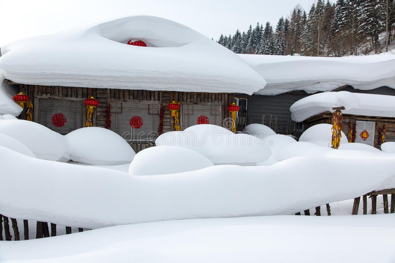 The snow town. Is located in Shuangfeng forest farm, Mudanjiang City, Heilongjiang Province, China stock photography