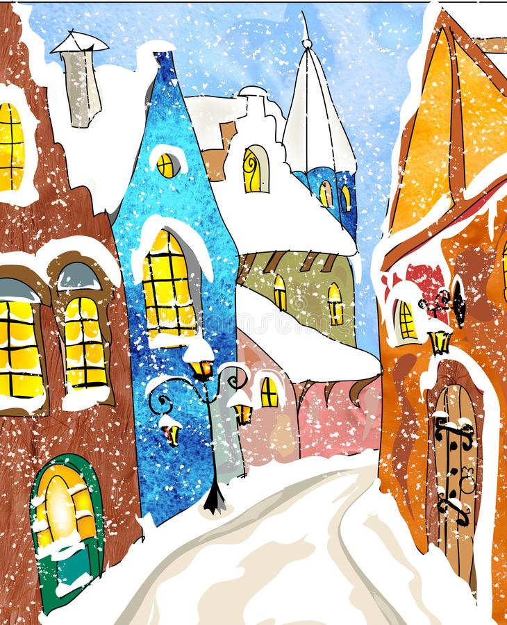 Snow Town watercolor Christmas Greeting card royalty free illustration