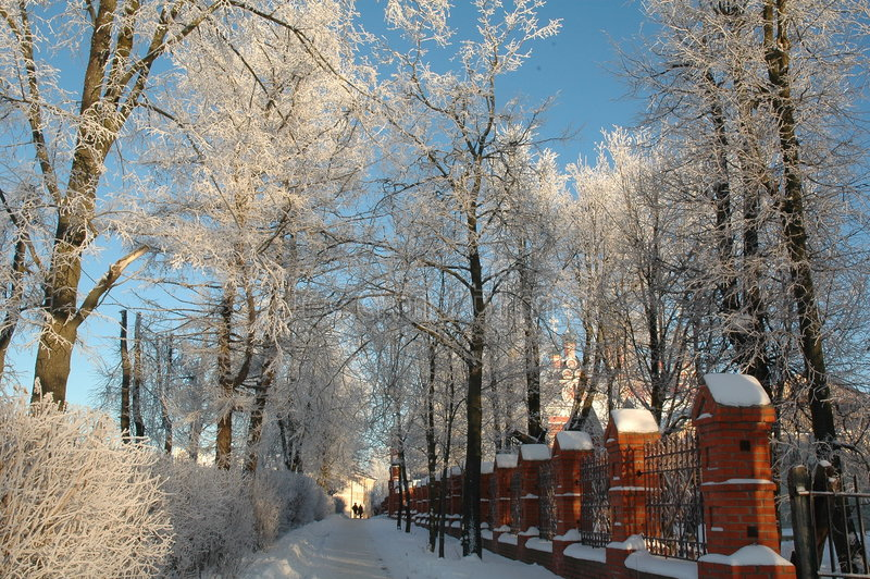 The snow track. The track beside orthodox church. Winter, Russia, Moscow area. Nikon D70 stock photos