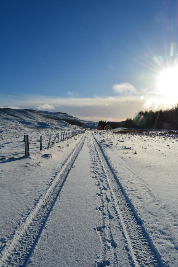 Snow on the track Enochdhu, Perthshire, Scotland Uk royalty free stock images