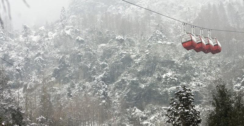 Snow Tram. 10 Qingcheng Mountain largest since a snow stock photo