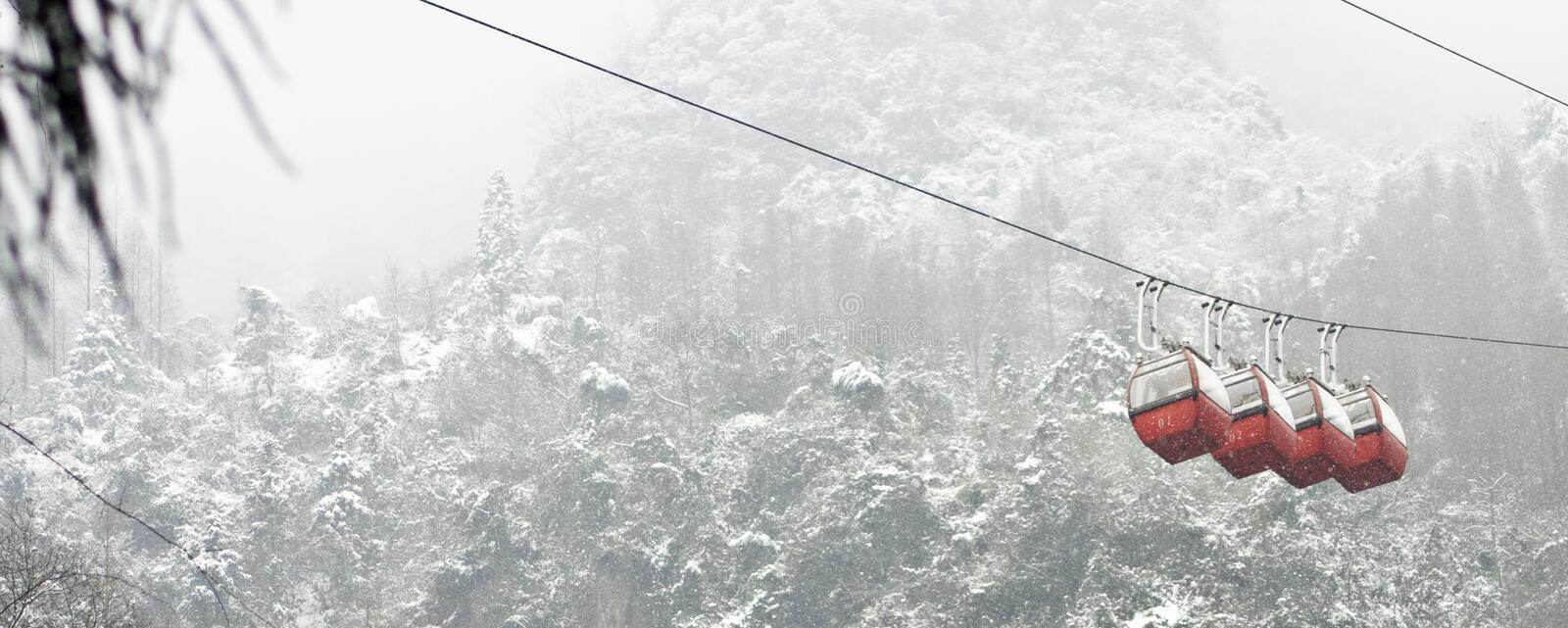 Snow Tram. 10 Qingcheng Mountain largest since a snow royalty free stock photo