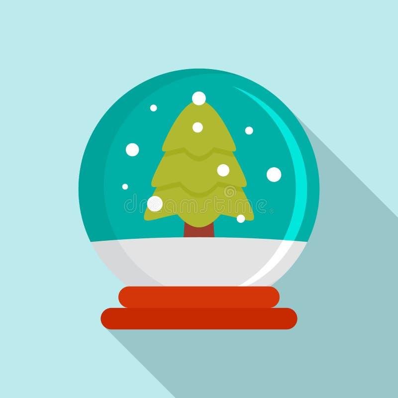 Snow tree glass ball icon, flat style vector illustration
