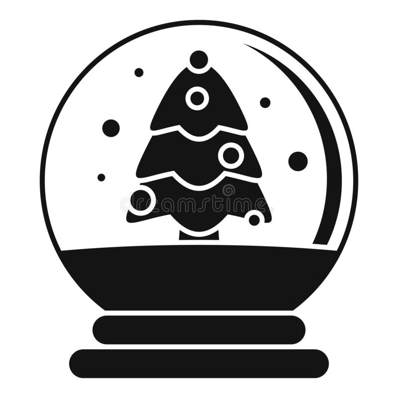 Snow tree glass ball icon, simple style royalty free illustration