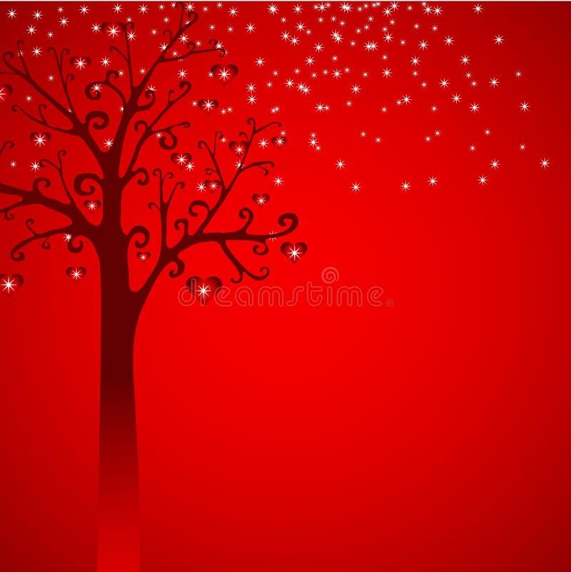 Snow, tree with hearts illustration