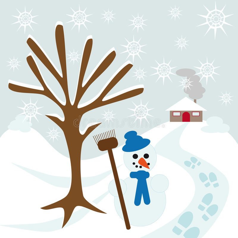 Download Snow tree hill and house stock vector. Image of scarf - 9095115