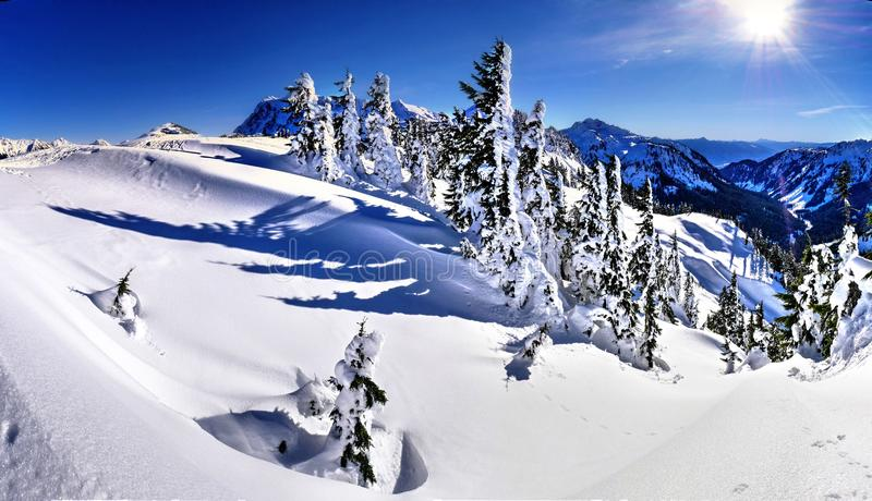 Sunny weather in ski resort. royalty free stock images