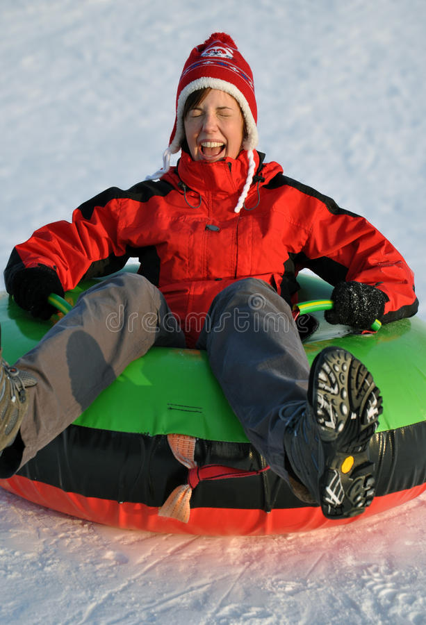 Snow tubing stock photo