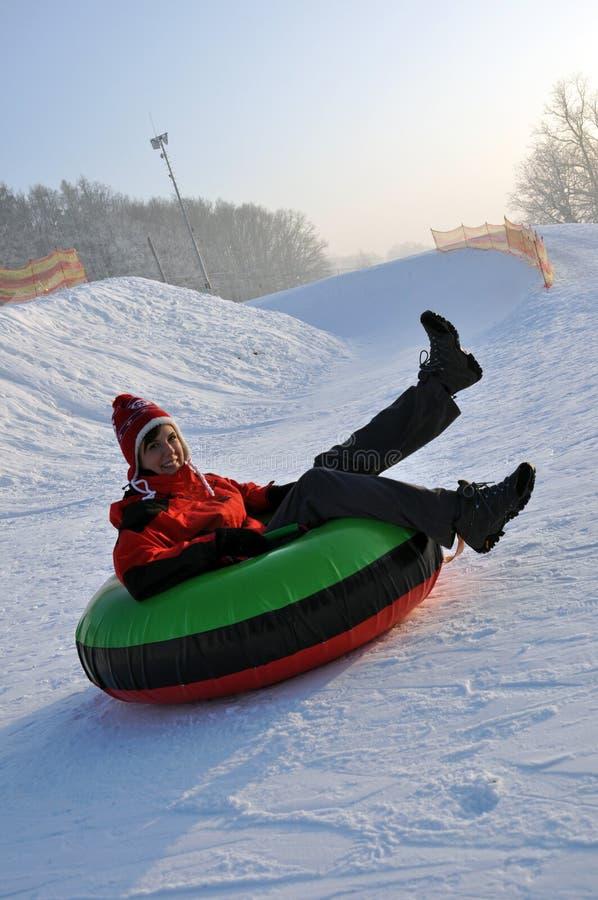 Snow tubing stock photography