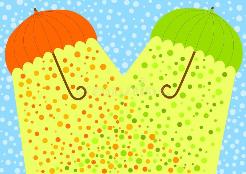 Snow umbrellas sunlight greeting card. Umbrellas under snow casting sunlight and warm royalty free illustration