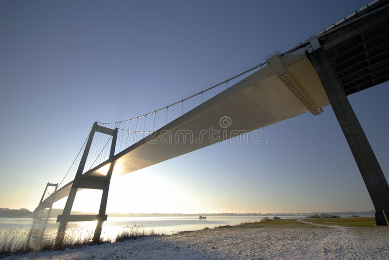 Snow under bridge royalty free stock images