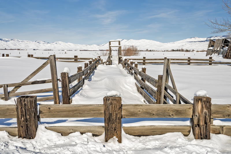Snow with unique textures around a farm corral. Cattle corral on a farn in winter covered with snow royalty free stock images