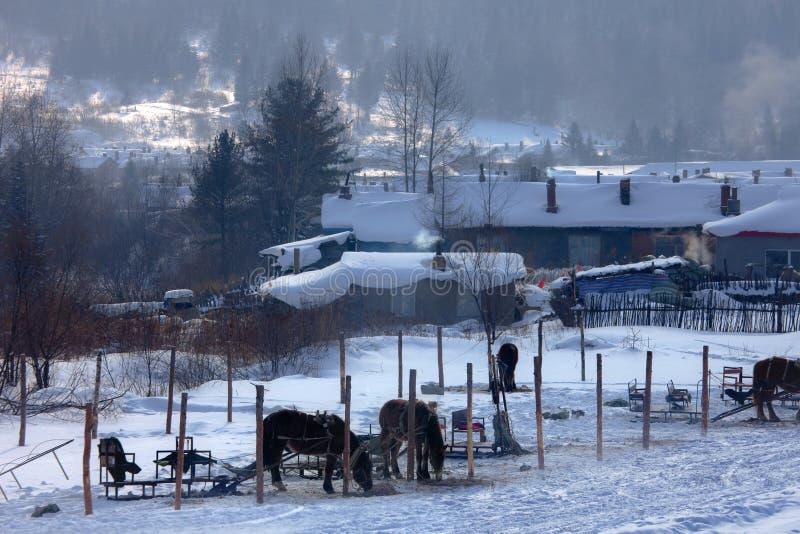 Snow village royalty free stock photo