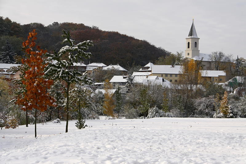 Snow By The Village Royalty Free Stock Photos