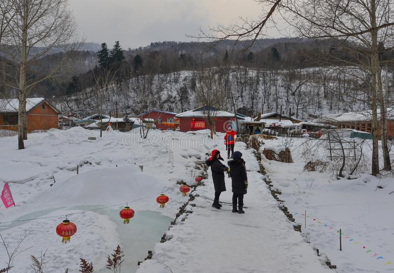 Snow village in Mohe County, China stock photography