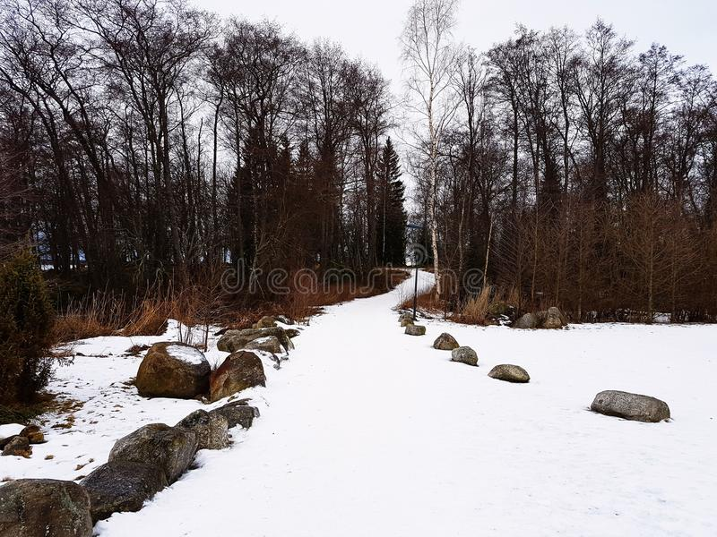 Snow walkway stock image