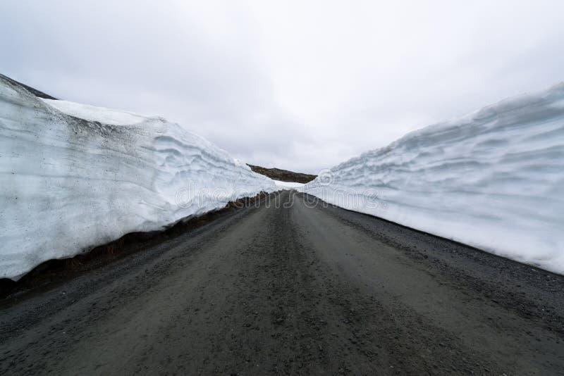 Snow wall road royalty free stock image