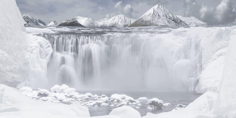 Snow mountain waterfalls stock photography