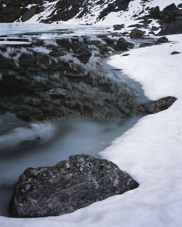 Snow, water, rocks stock image