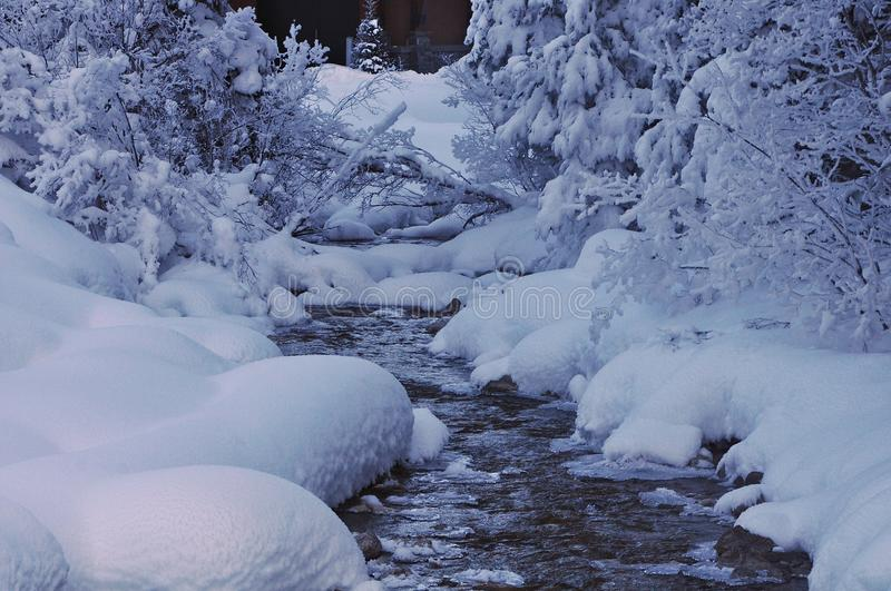 snow and water Winter landscape stock photo