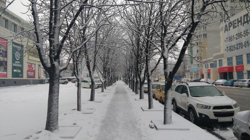 Snow weather in the city stock image