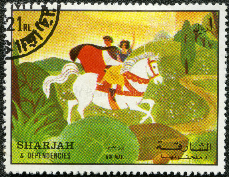 Snow White, 1972. SHARJAH & DEPENDENCIES - CIRCA 1972: A stamp printed by Sharjah & Dependencies devoted fifty years of Walt Disney cartoon characters, shows stock illustration
