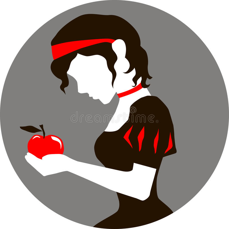 Snow White and the apple stock illustration