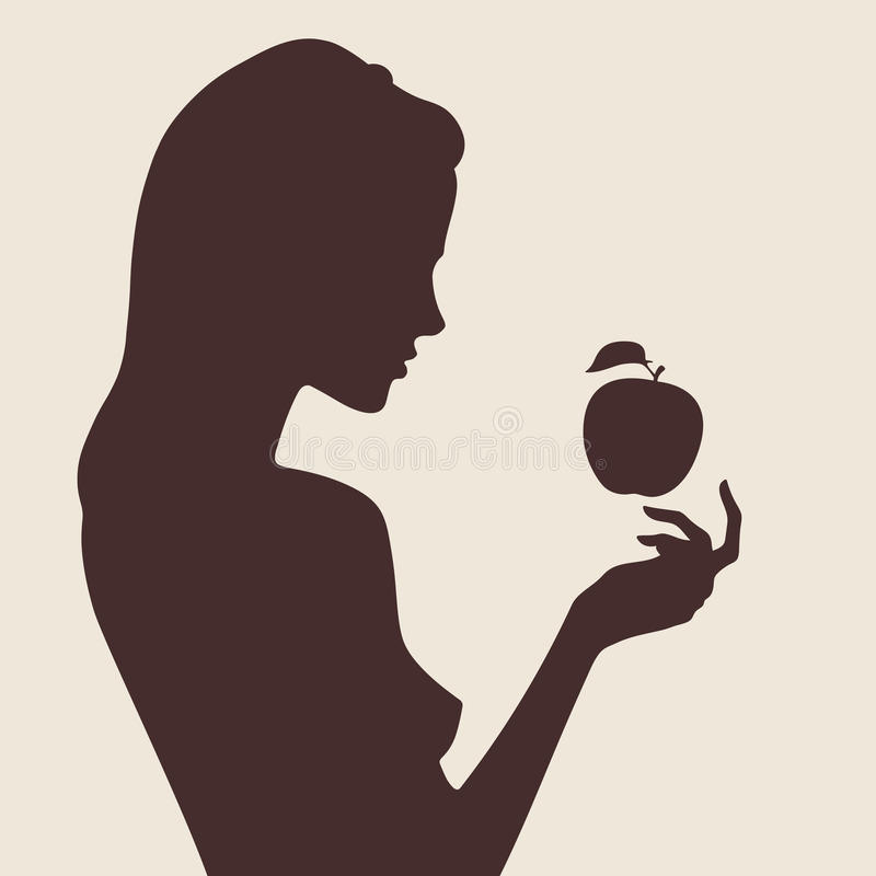 Snow White and apple vector illustration royalty free illustration