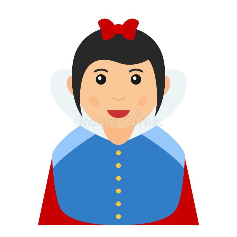 Snow White Avatar Flat Icon on White vector illustration