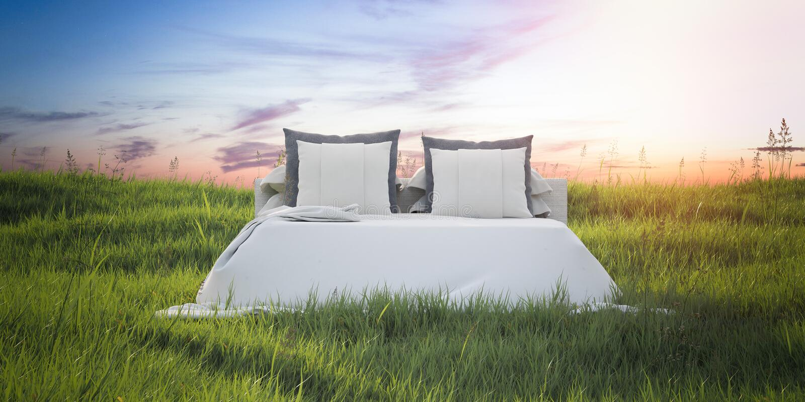 Snow-white bed in a beautiful summer field. 3d rendering. Snow-white bed in a beautiful summer field at dawn. 3d rendering stock illustration