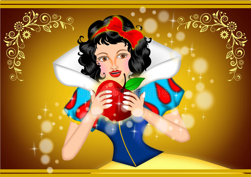 Snow white. Holding apple illustration stock illustration