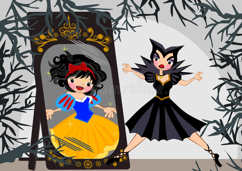 Snow white. Story line illustrations concept stock illustration