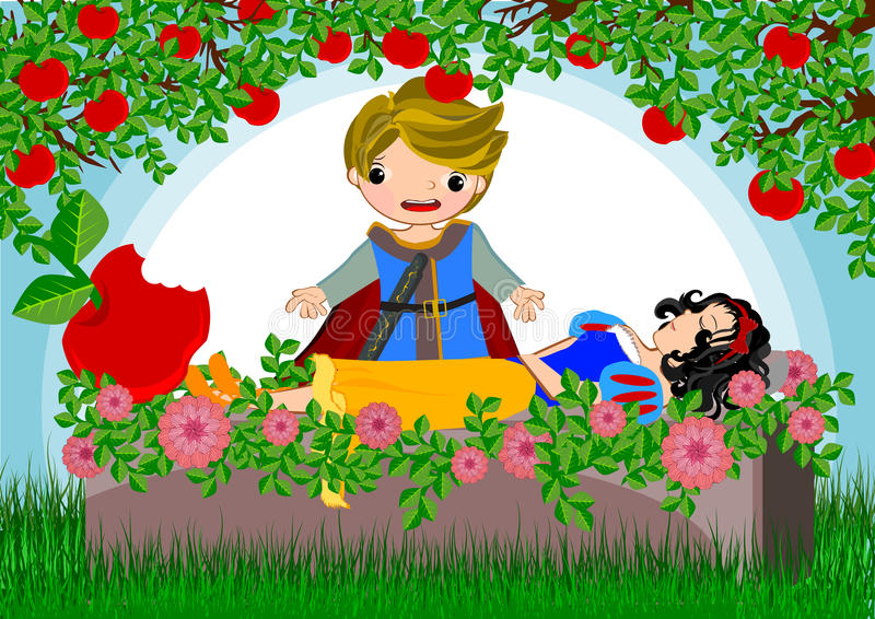 Snow white. Story line illustrations concept vector illustration