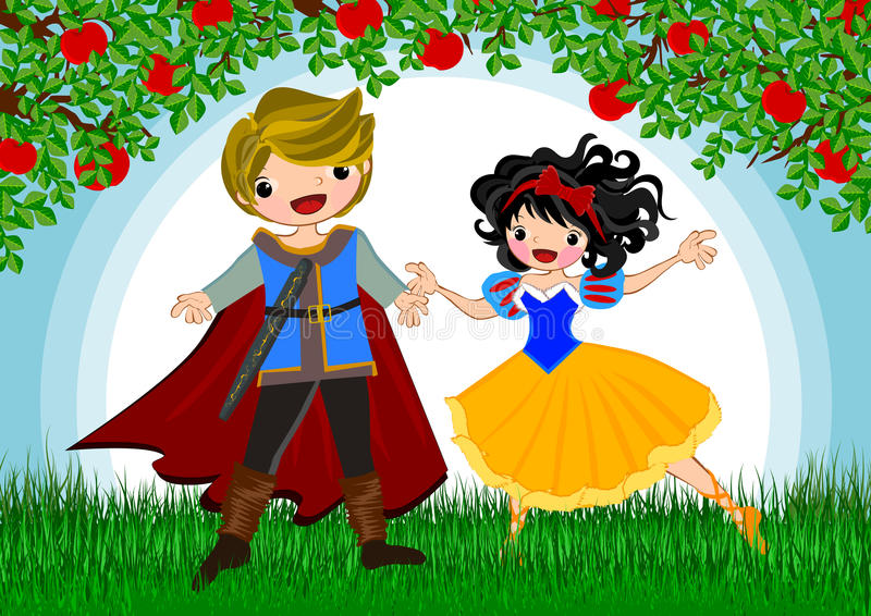 Snow white. Story line illustrations concept royalty free illustration