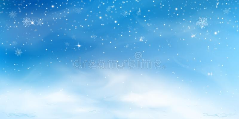 Snow winter background. Christmas sky landscape with cold cloud, blizzard, stylized and blurred snowflakes, snowdrift in stock illustration