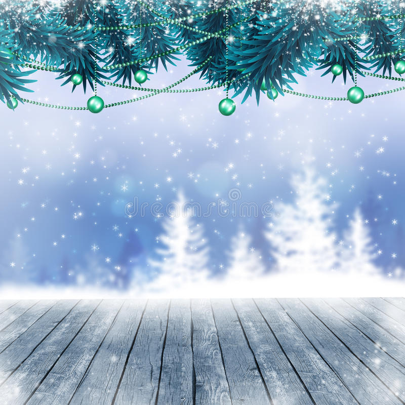 Snow Winter Blue Background. Winter snow christmas tree blue background with stars and forest royalty free illustration