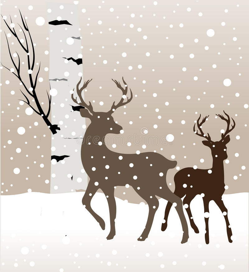 Snow winter landscape with two deers and birch tree. Vector stock illustration