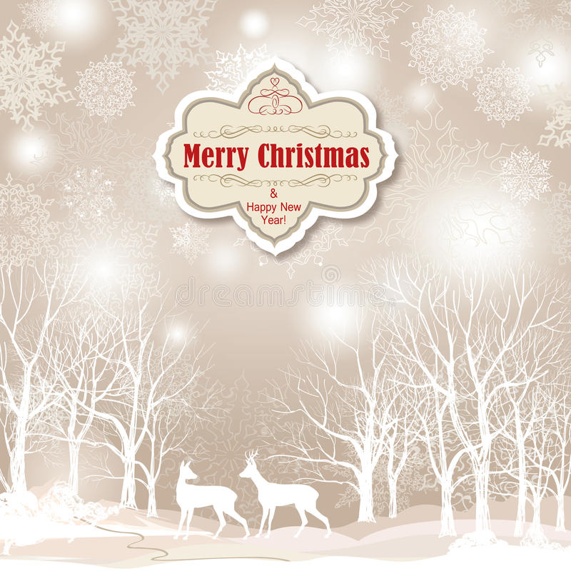 Snow winter landscape with two deers. Merry Christmas background vector illustration