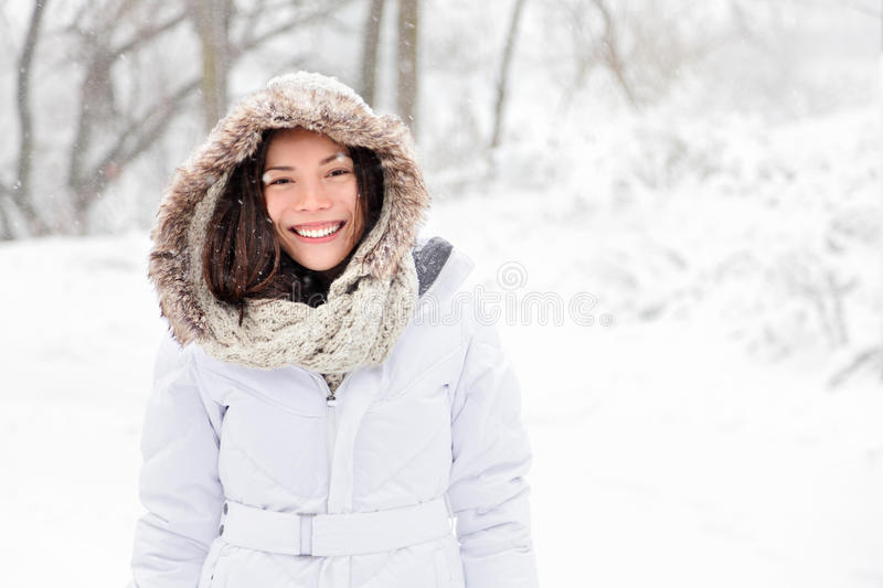 Snow winter woman stock images