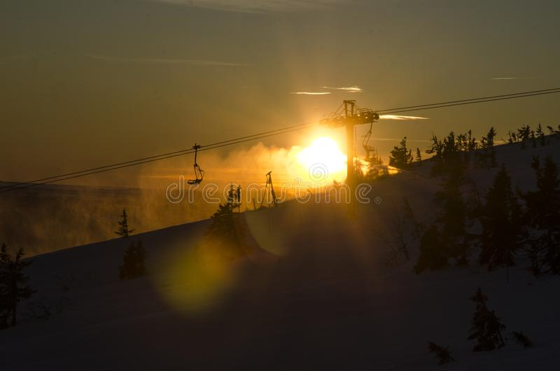 Sunrise by the lift stock photography