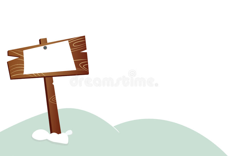 Snow and wooden board royalty free illustration