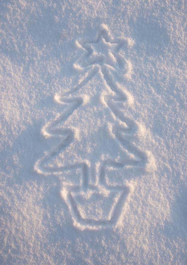 Snow Xmas Tree. Christmas tree drawn in snow